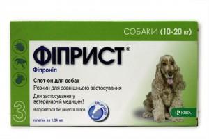 ФИПРИСТ, спот он, капли для собак, весом 10-20 кг, от блох и клещей, Фипронил 134 мг